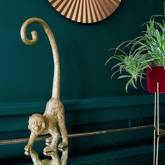 Statuette deco singe doré Curly Tail - 43 cm
