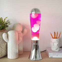 Lampe à lave Argenté / Rose - 45 cm