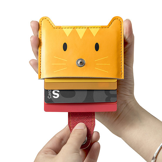 Porte cartes de credit - Chat orange