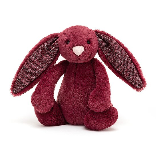 Peluche Jellycat lapin Cassis à paillette - Bashful Stardust bunny - Small BASS6SD 18cm