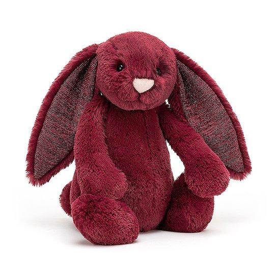 Peluche Jellycat lapin Cassis à paillette - Bashful Sparkly Cassis bunny - Medium BAS3SCAS 31cm