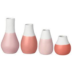 Mini vases tons rouges lot de 4 - porcelaine