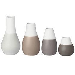 Mini vases tons gris lot de 4 - porcelaine