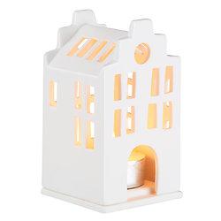 Photophore en porcelaine - Petite maison 10,5 cm