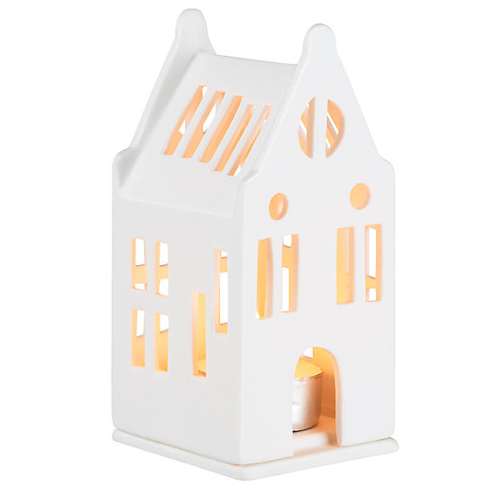 Photophore en porcelaine - Petite maison manoir 12,5 cm