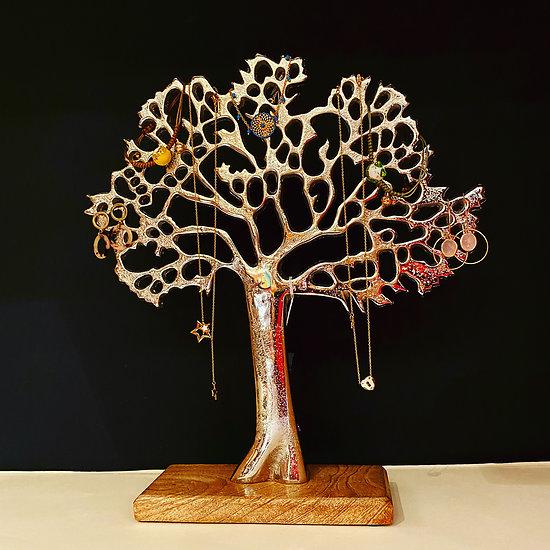 Porte bijoux argenté - Arbre de vie 27 cm