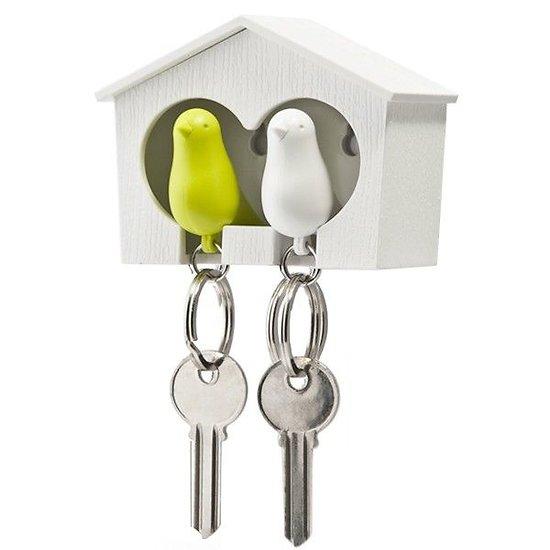 Maison accroche-clés -  Oiseaux vert et blanc