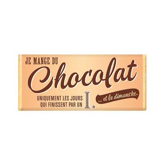 Tablette chocolat cadeau BIO - Je mange du chocolat uniquement les jours qui finissent par un i. ... et le dimanche