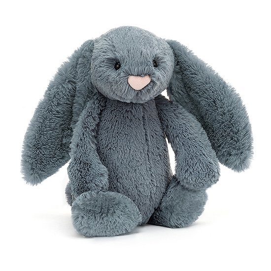 Peluche Jellycat bleu gris – Bashful Dusky Blue bunny – Medium BAS3DUSKB 31cm