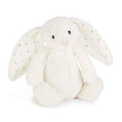 Peluche Jellycat Blanc étoile – Bashful Twinkle Bunny – Small BASS6TW 18cm