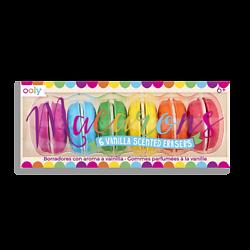 Macarons - 6 gommes macaron colorées et parfumées