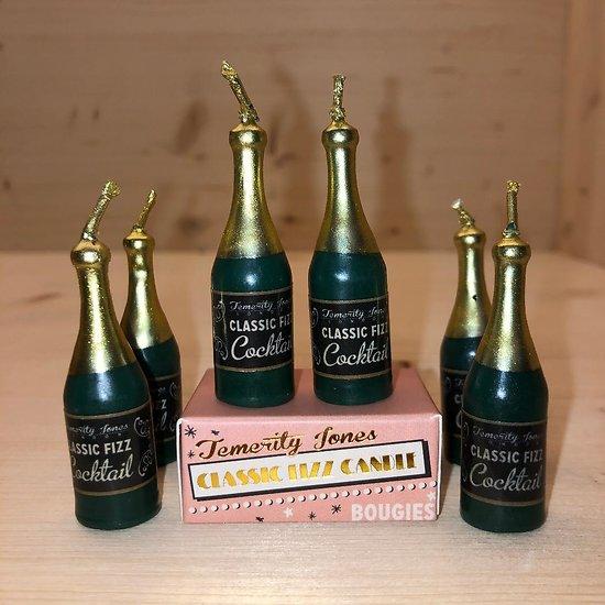 Bougies anniversaire Champagne - Lot de 6 bougies - Temerity Jones