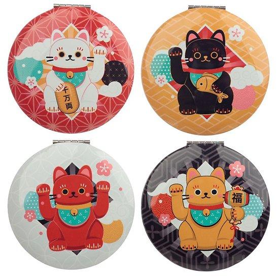 Petit miroir de poche rond - Chat porte bonheur japonais Maneki neko