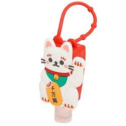 Flacon de sac gel hydroalcolique avec étui silicone - Chat porte bonheur japonais maneki neko