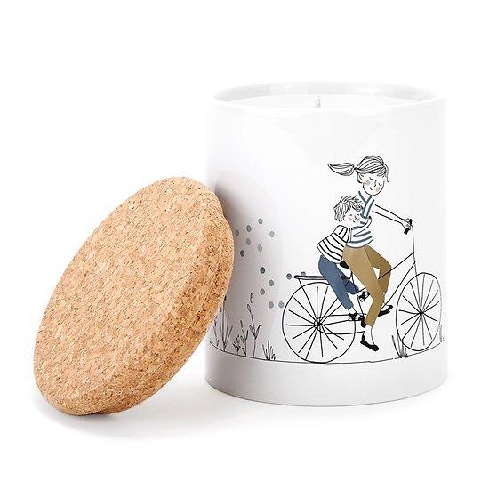 Bougie parfumée en pot céramique - Mère et fils à vélo