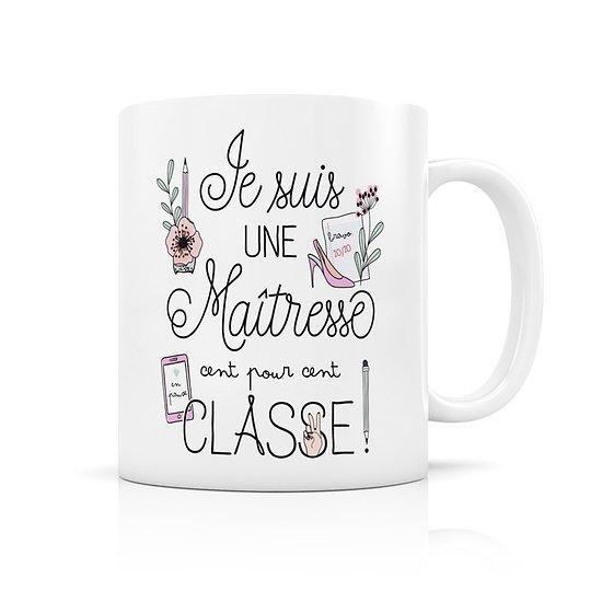 Mug porcelaine Ma maitresse 100% classe !