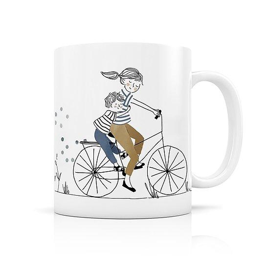 Mug céramique Mère et fils à vélo
