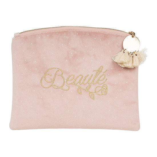 Trousse de toilette femme en velours rose - Beauté