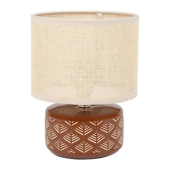 Petite lampe de chevet céramique et toile de jute Ocre