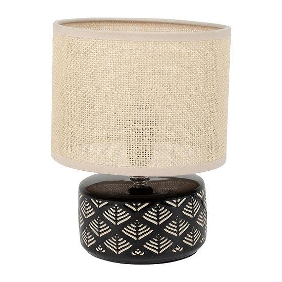 Petite lampe de chevet céramique et toile de jute Noir