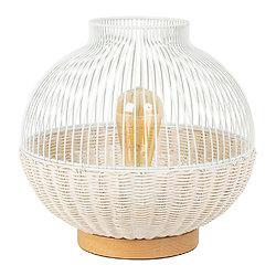 Lampe boule fil métal blanche et rotin naturel