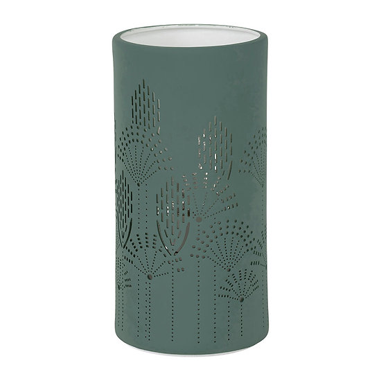Lampe porcelaine verte décorative à poser - Année 70