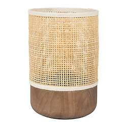 Lampe à poser cylindrique bois et Rotin naturel - Balamea