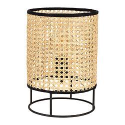 Lampe à poser cylindrique Noir et Rotin naturel - Balamea