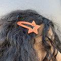 Grande barrette cheveux étoile - Corail