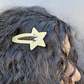Grande barrette cheveux étoile -  Crème