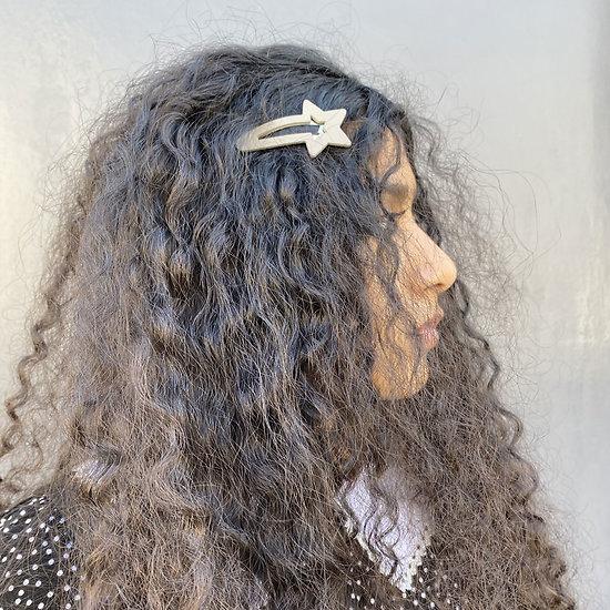 Grande barrette cheveux étoile - Perle