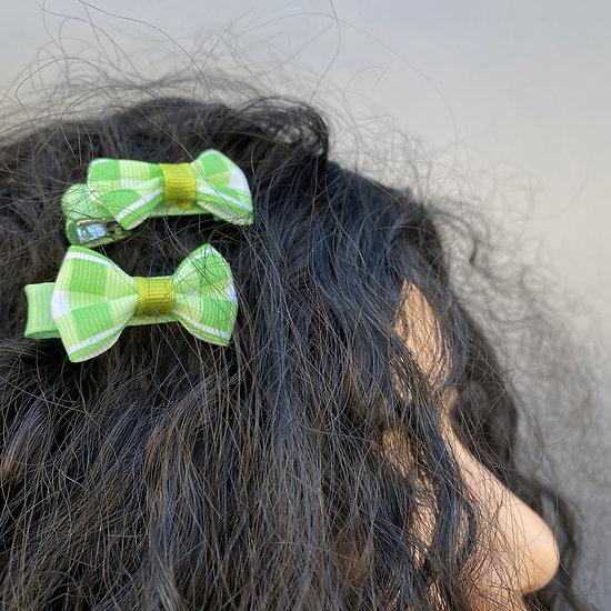 Barrette cheveux petit noeud tissus - Amande