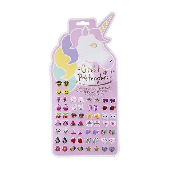 Boucles d'oreille autocollantes Licorne - Lot de 30 paires