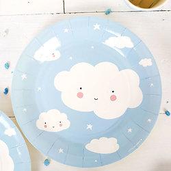 12 assiettes en carton anniversaire Nuage bleu