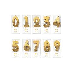 Bougie anniversaire chiffre or et paillette
