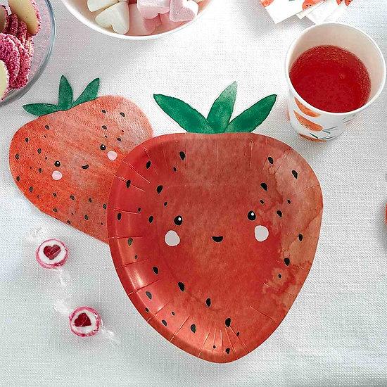Assiette en carton en forme de fraise - Lot de 12