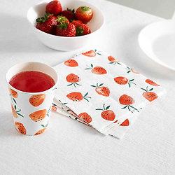 Serviette en papier fraise - Lot de 20
