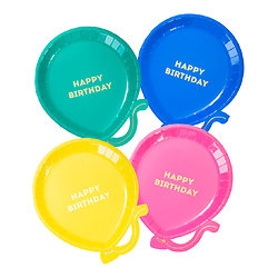 Assiette en carton en forme de ballon - Lot de 12