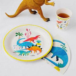 Assiette en carton Dinosaure 100% recyclable - Lot de 8