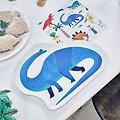 Assiette en carton en forme de dinosaure - Lot de 12