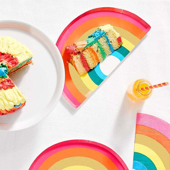 Assiette en carton en forme d'arc en ciel - Lot de 12