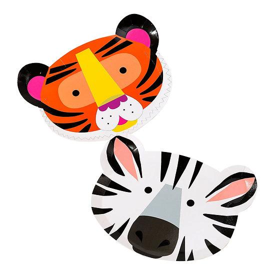 Assiette en carton en forme de zèbre et de tigre - Lot de 12