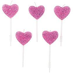 Bougie anniversaire Coeur rose à paillette - Lot de 5