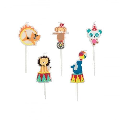 Bougie anniversaire Cirque - Lot de 5