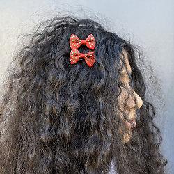 Barrette cheveux petit noeud tissus - Rouge