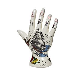 Porte bijoux main tatouée en ceramique - Déco rock style vintage - Phrenologie