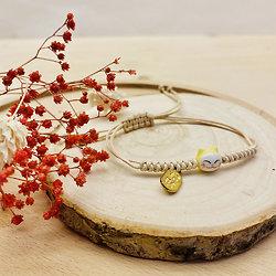 Bracelet porte bonheur japonais Chat Maneki Neko - Jaune