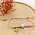 Bracelet porte bonheur japonais Chat Maneki Neko - Rose