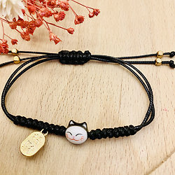 Bracelet porte bonheur japonais Chat Maneki Neko - Noir