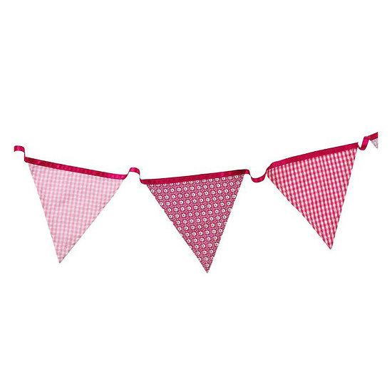 Guirlande fanion tissu rose